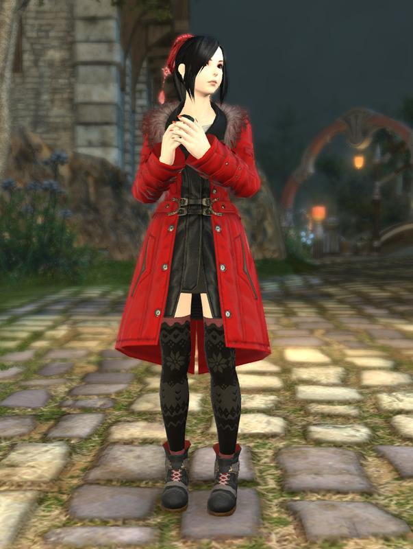 ニーハイで赤色コートで合わせる冬コーデ!