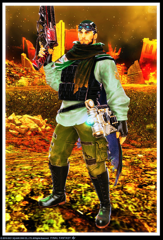 アンドロイド旧式軍装:射×ハイランダー♂×機工士