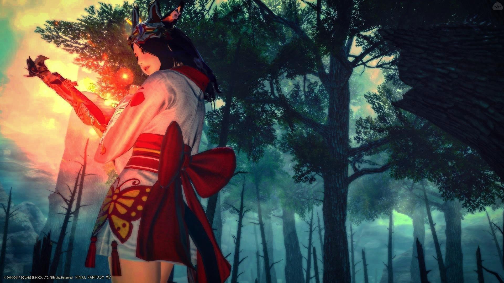 夜の森の狐火