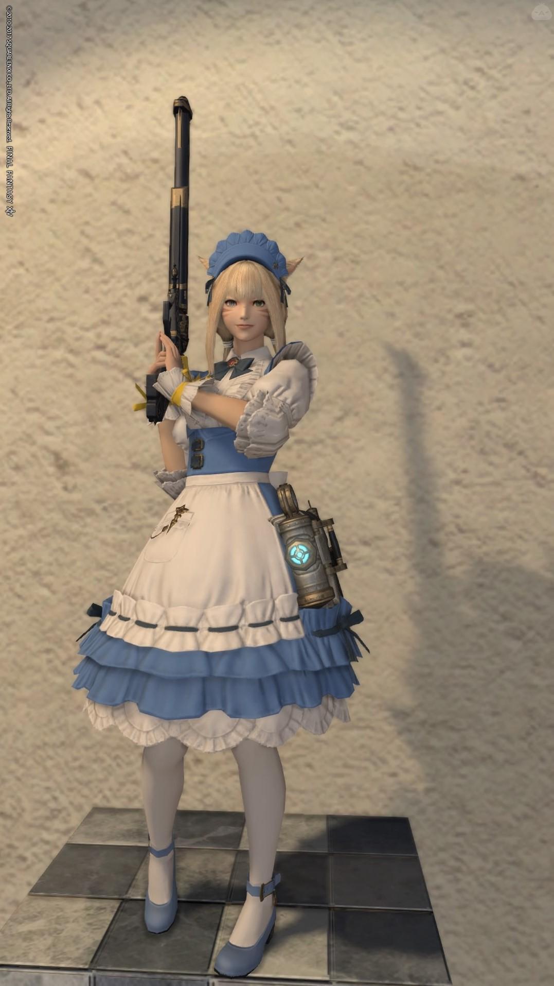 【ラプトルブルー】メイド服と機関銃