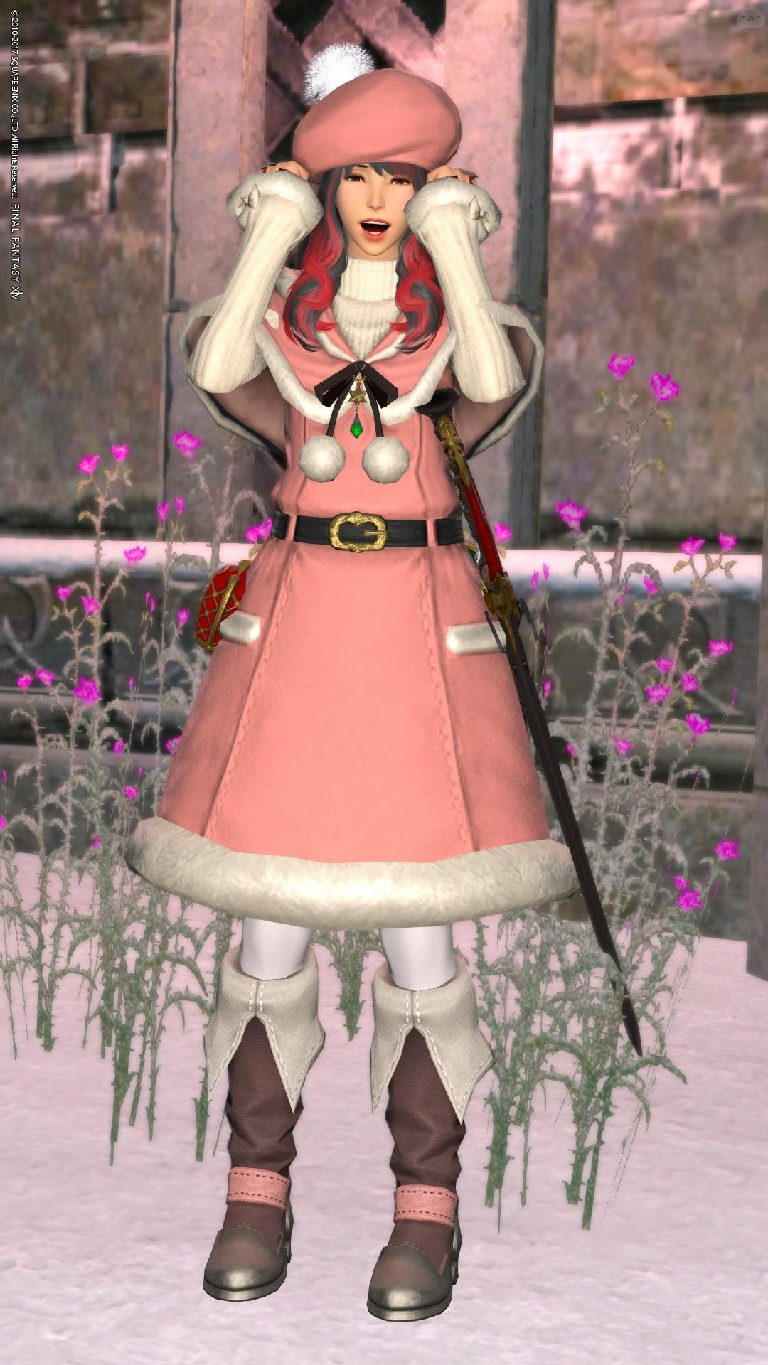 ピンクのふわふわサンタさん