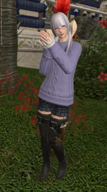 セーターに萌え袖