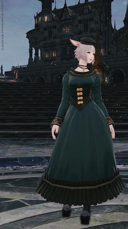 Green dress coordinate.