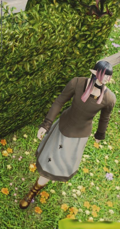 秋色のミディアム丈スカート
