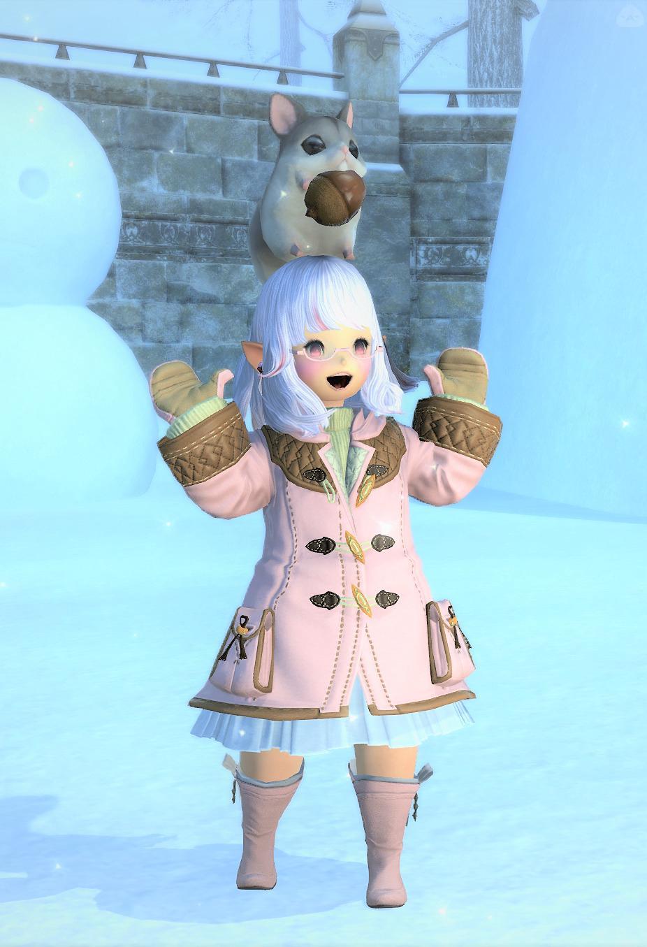 雪でも大丈夫ピンクコーデ