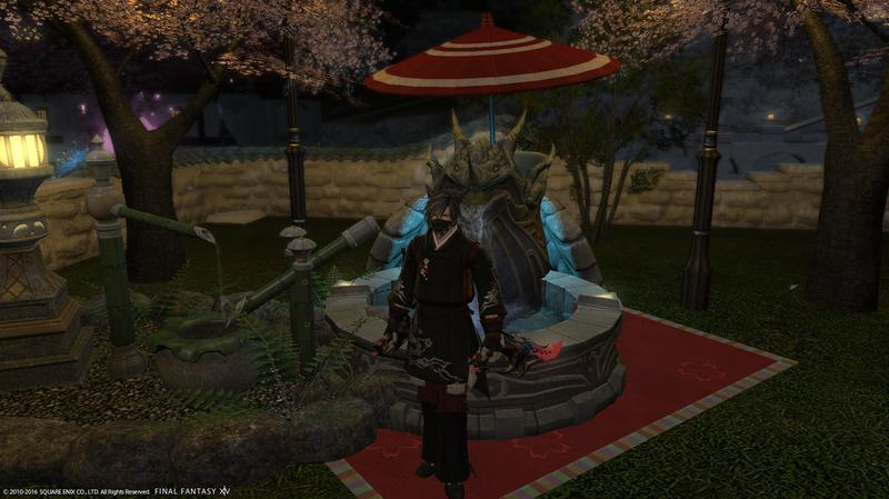 夜桜を観に来た忍者
