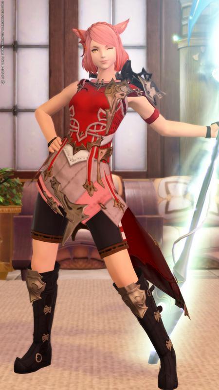 【竜騎士】編み込みカチューシャが似合う紅の竜騎士【ミコッテ】