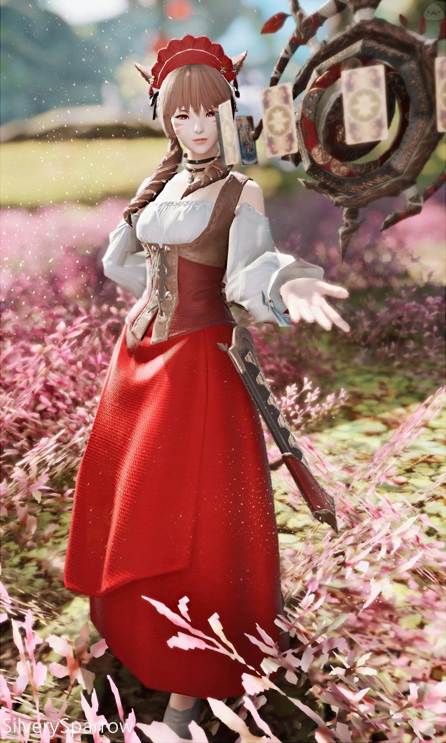 赤い田園風ロングスカート