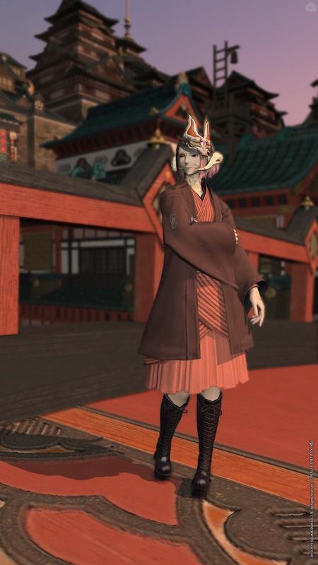 和服と編み上げブーツ