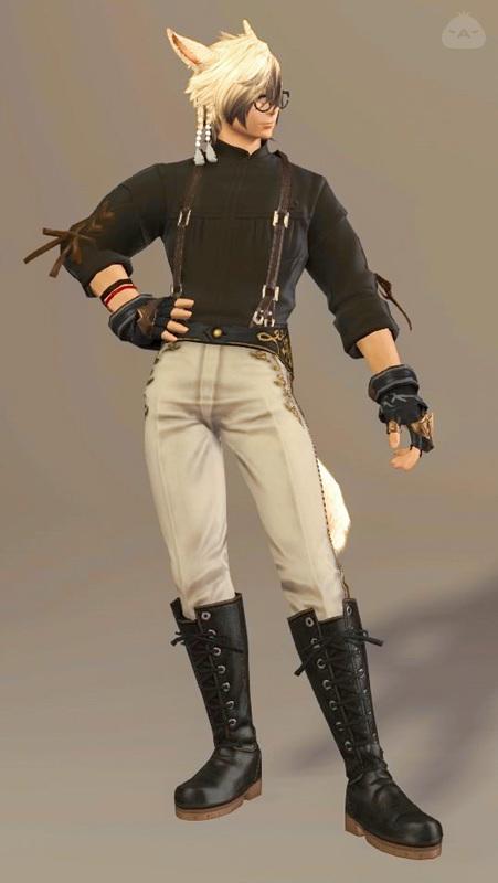 黒シャツサスペンダー×白パンツ
